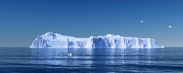 Spitze des Eisbergs - Symbolbild für die komplexen Fragen der Medienvesrorgung